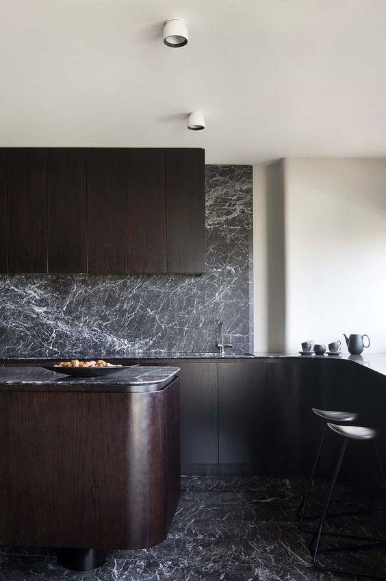 interieur-interior-keuken-kitchen-dark-donker-pallisander-zwarte marmer-black marble-round shapes-ronde vormen