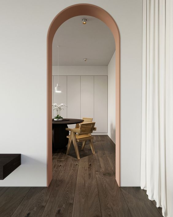 interieur-parket donker-woode floor dark-white walls-witte muren-doorgang boog-passage arc