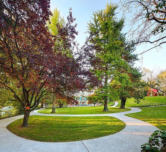 public space-publieke ruimte-cohousing-commengarden-gemeenschapstuin-park-parc-betonpaden-concrete paths
